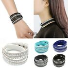 Women Crystals Rhinestone Rivets 2Wrap Around Ropes Leather Adjustable Bracelet