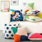 Abstract Colorful Pastoral Dot Sofa Decor Pillow Case Cushion Cover Square Linen