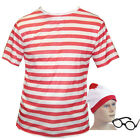 Mens Red White Stripe T-Shirt Hat Glasses Fancy Dress Festival Stag Fancy Dress