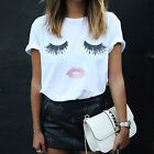 CHIC Fashion Womens T Shirt Ladies Eyelash Summer Loose Tops Short Sleeve Blouse
