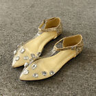 New Vouge Womens pointy toe clear crystal decor flats ankle strap date casual Sz