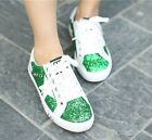 Leisure Womens Fashion Sequin Lace up School Casual Walking Skateboard shoes New