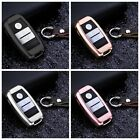 For Land Wind Remote Key Fob Case Aircraft Aluminum Cover Genuine Leather Chain