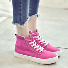 Canvas Women Fashion Sneakers Lacce up Leisure High Top Hiking School Flat Shoes