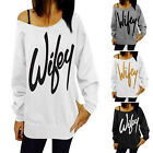 Wifey Print Womens Long Sleeve Thin Hoodie Sweatshirt Pullover T-shirt Top LAUS