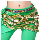 Rhinestone Gems Velvet Coin Belts Belly Dance Hip Scarf Skirt Costume Wrap NEW