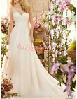Wedding Derss Womens Trailing Slim Fit V-Neck Sleeveless Ball Gown Bride Chic SZ