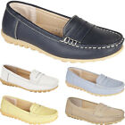 New Womens Ladies Slip On Casual Office Work Leather Loafers Flat Shoes Sizes UK