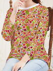 Mushrooms Poppies Paisley Women 3/4 Sleeve Round Neck Tee T-shirt b102 acq02626