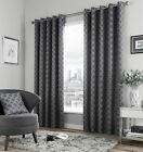GEOMETRIC CHARCOAL GREY FULLY LINED RING TOP CURTAINS *6 SIZES*