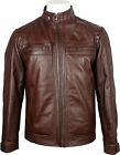 UNICORN Mens Classic Biker style Jacket - Real Leather Jacket - Brown #4P