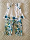 Toddler Girls Gymboree Sea Splash Outfit Fish Flowers 3T 4T Tank Crops Pants