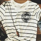 Fashion Women Striped Mom Life Letter Print Short Sleeve O Neck Tee T-Shirt Top