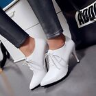 US4-11 Womens Stylish Pointy Toe Lace up Stiletto heels Work Court Shoes Pumps
