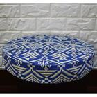 AL265r Blue Cream Geometric Cotton Canvas 3D Round Seat Cushion Cover Custom Siz