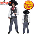 CA189 Mens Mexican Bandit Western Cowboy Fancy Dress Up Wild West Costume Outfit