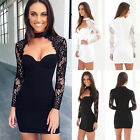 Women Summer Lace Long Sleeve Casual Evening Party Cocktail Short Mini Dress NEW