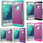 PINK GLITTER Case For Google Pixel - Shockproof Hard Cover Shiny Bling Sparkling