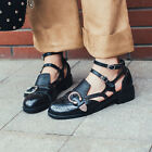 New Stylish Boruge womens oxfords buckle decor Ankle strap Low heel Casual Shoes