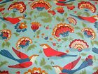 BIRD LARGE FLORAL ON BLUE - BY 3 WISHES - 100% COTTON FABRIC