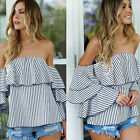 New Womens Ladies Casual Off the Shoulder Flare Sleeve Tops Tank T-Shirt Blouse