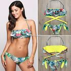 New Women Sexy Adjustable Spaghetti Straps Halter Prints Bandage Swimsuit 2 N4U8
