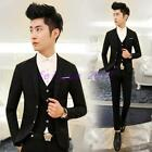 Mens Formal Slim Double-breasted Jackets Pant Vest Set Party Wedding Suits 3 PCS