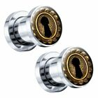 Vintage Gold Keyhole Steel Screw-On Picture Plugs Pair - Choose Size