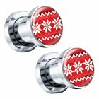 Red Sweater Steel Screw-On Christmas Picture Plugs Pair - Choose Size