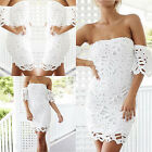Women Lace Off Shoulder Bodycon Sleeveless Cocktail Evening Party Mini Dress NEW