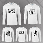 Men's Anime Character Pattern Print Cotton Long Sleeve T-shirt Black And White