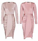 Womens Ladies Wrap Over V Plunge  Ruched Midi Party Slinky  Dress 8-14