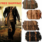 "Men's Military Canvas Leather Satchel School 14"" Laptop Shoulder Messenger Bag 1"