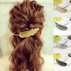 Womens Lady Leaf Feather Hair Clip Hairpin Barrette Bobby Pins Hair Accessories