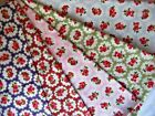Pink blue green red purple floral 100% cotton fabric sold in metre & half metre