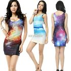 Women Digital Printing Stretch Bodycon Sleeveless Slim Fit Tank Dress 5 Colors @