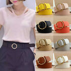 Women Lady Vintage Metal Boho Leather Round Buckle Waist Belt Waistband BD