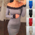 Women's Lace Off Shoulder Tube Long Sleeve Cocktail Party Bodycon Pencil Dress