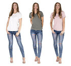Womens Tall Distressed Ripped Holes Cut Out Neck T-shirt Short Sleeve Nibble Top