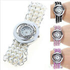 Women's New Rhinestone Pearl Quartz Analog Round Dial Bracelet Wristwatches