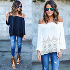 CH Fashion Women Summer Cotton Blouse Off Shoulder Loose Casual T-Shirt Tops