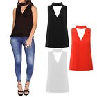 Womens Ladies Cut Out Plunge V Neck Collar Choker High Neck Blouse T-Shirt Tops