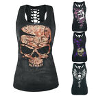Womens Tank Top Gothic Punk T-Shirt Tee 3D Digital Cotton Sleeveless Vest Top