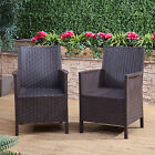 Garden Bistro Set 2 Piece Rattan Chairs Furniture Conservatory Outdoor Chair
