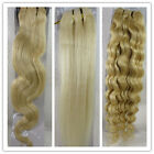"15-36"" Remy Human Hair Weft Extensions Straight Deep Wavy #60 Platinum Blonde"
