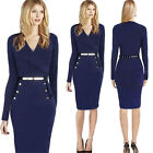 Elegant  Cotton Business Formal Party Wear Peplum Belt Bodycon Spring Wear AB