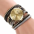 2017 Women Watch Crystal Rivet Bracelet Quartz Braided Winding Wrap Wrist Watch