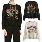CHIC Women's Floral Embroidered Long Sleeve Shirt Blouse White Black Casual Top