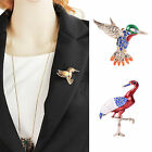 Vintage Flying Bird Red-crowned Crane Lovely Rhinestone Crystal Brooch Pin Gift