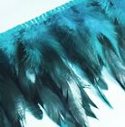 "Yrb06 - Teal Blue (4""-8"" Wide) Rooster Feather Fringe Trim Facinator Material"